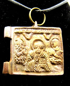 Late Medieval Bronze Icon depicting St Nicholas (Santa Claus) - Wearable Gift - 29 mm