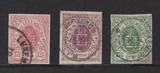 Luxembourg 1859 - various values from the set of coat-of-arms stamps, imperforate - Michel 7, 9 and 10