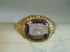 Antique 14 kt men's ring with real amethyst of 3.0 ct, circa 1920