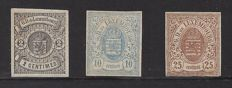 Luxembourg 1859 - selection of coat-of-arms stamps, imperforate - Michel 4, 6 and 8