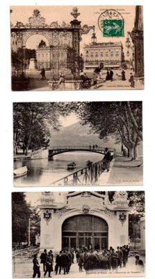 France - lot with 123 old postcards, some semi-modern postcards of cities, villages and others