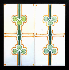 Four Art Nouveau Tiles with continuous pattern.