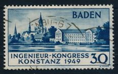 French Zone Baden - 1949 - Engineer Convention in Constance 2nd edition, Michel 46 II with Schlegel BPP photo attest