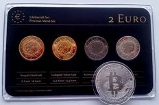 "Letland - 2 euro 2014 ""Precious Metal"" - refined (4 different ones) + medal BitCoin"