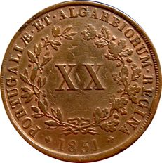 Monarchy of Portugal - D Maria II (1834-1853) - 20 Reis - 1851 - Copper
