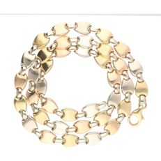 18 kt - Tri-colour yellow/white/rose gold link necklace - length: 46.5 cm