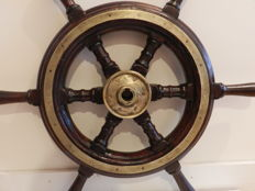 Antique heavy teak wood ships wheel - Nederlands - late 19 early 20 century