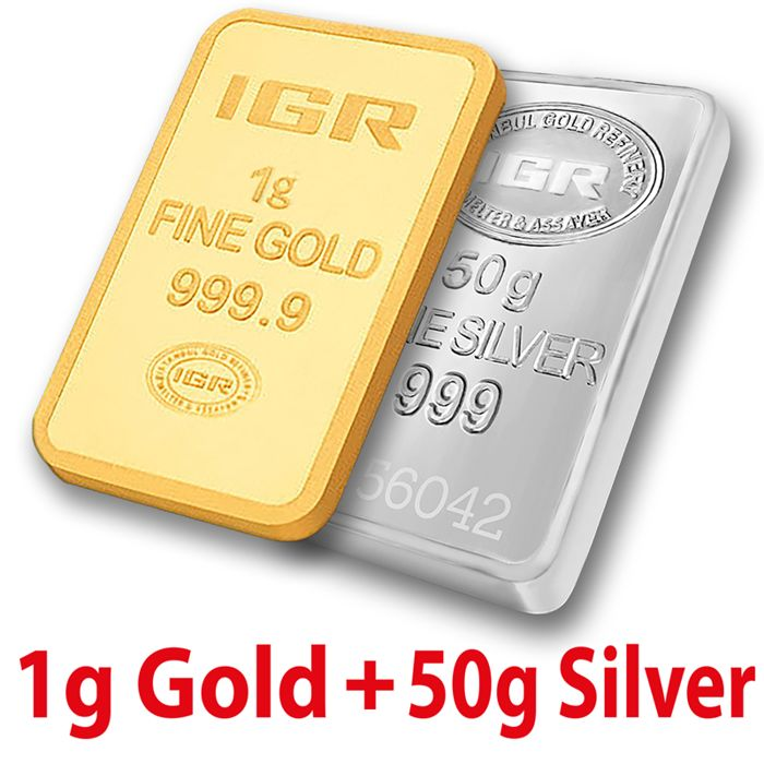 1g Gold & 50g Silver Bullion Bar Set , *** NO RESERVE PRICE ***