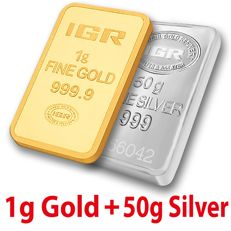 1g Gold & 50g Silver Bullion Bar Set