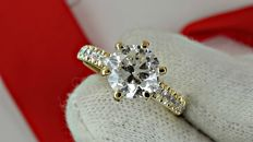 2.00 Ct round diamond ring made of 14 kt white gold - size 6