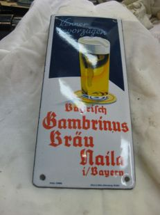 Enamel advertising sign - Bambrinus Brau