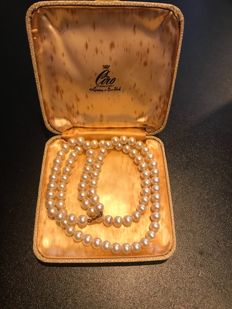 Rare ciro boxed pearl necklace with gold clasp signed