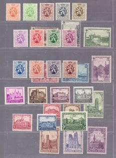 Belgium - 1929/1930 - Cathedrals, Lions, Landscapes and Castles - OBP 267/72, 276/288A, 293/98, 308/14
