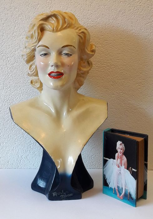 Marilyn Monroe - large poly-resin bust and a box that looks like a book