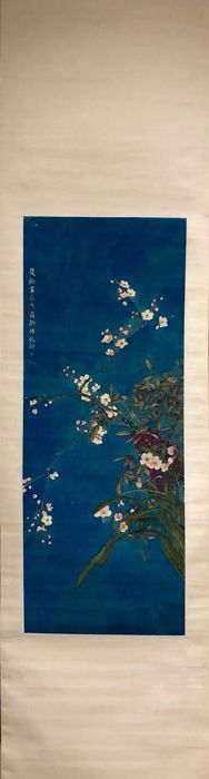 Hand-painted scroll orchid - China - late 20th century