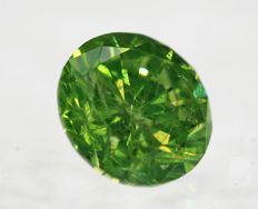 Big Fancy Intense Yellowish Green Diamond - 2.00 ct - SI1 - LOW RESERVE
