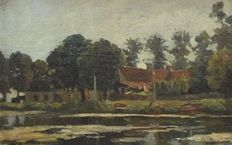 Louis Stutterheim (1873-1943) - View on farm at the water