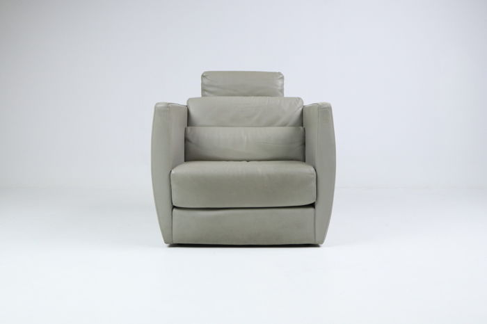 Christophe delcourt for roche bobois large leather armchair model