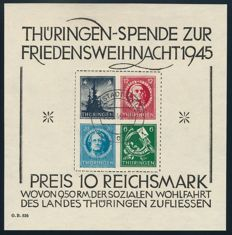 Soviet zone – Thuringia – 1945 – Christmas block on cardboard, Michel block 2 x (III) with photographic certificate Busch