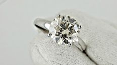 2.36  ct round diamond ring made of 14 kt white gold -*** NO RESERVE PRICE ***