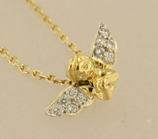 14 kt Yellow gold necklace with bicolour gold angel pendant set with 10 diamonds, necklace length 46 cm