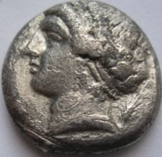 "Greek Antiquity - Campania Neapolis 325-241  BC. AR Nomos or Didrachm ""Eagle symbol"""