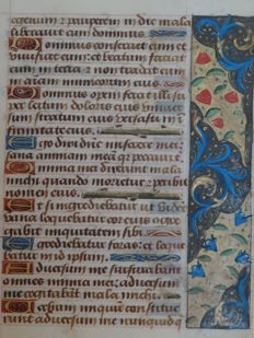 Manuscript; Handwritten leaf from a book of hours with blue wildflowers and red fruits on brown and gold fields - Psalm 41 and 42 - Tours, France - c. 1485