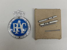 "Original Vintage RAC Royal Automobile Club Plastic and Aluminium 1954 - Late 1960 Car Badge Auto Emblem Approx 4.25"" x 3.25"""