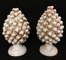 Caltagirone Ceramics - Pair of Small Pine Cones