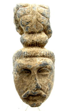 Gandhara Stone Statue of Large Buddha Head - 155 x 70 mm