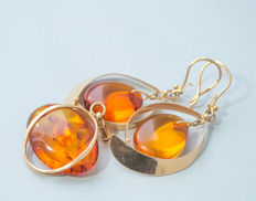Vintage 14K (583) USSR gold set: pendant and earrings with Natural Baltic Amber, honey/cognac color Amber