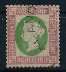 Helgoland – 1873 – Queen Viktoria,  1/4 Schilling bright green/carmine  Michel 8 b with photographic certificate Schulz BPP