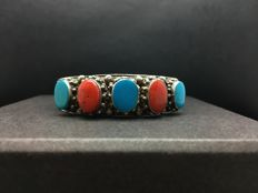 Unique old silver handmade bracelet with coral & turquoise stones weight: 32.2