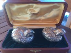Gucci - Vintage Salt and Pepper Set - 2 quails in silver-plated pewter