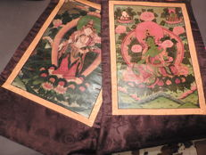 Two painted Tara scrolls - Nepal - 2nd half 20th century