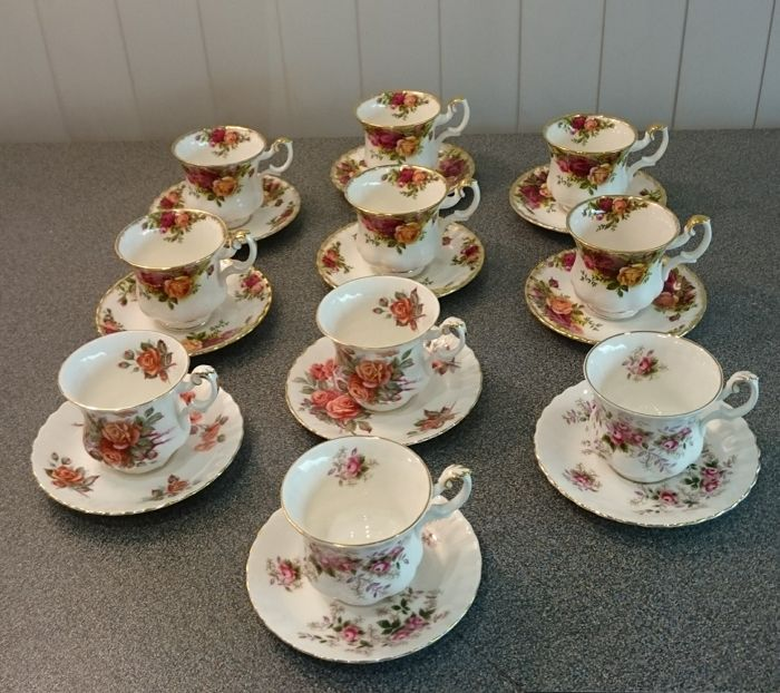 Royal Albert 40 Cups And Saucers Various Decoration Including Old Custom Decorative Cups And Saucers