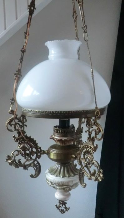 Jugend Style Bronze pendant lamp with  handpainted decoration