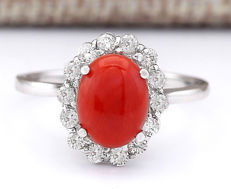 1.95 Carat Coral 14K Solid White Gold Diamond Ring - Ring Size: 7 ** Free shipping *** No reserve *** Free resizing ***