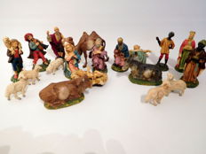 Old Christmas group consisting of 20 figurines