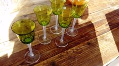 Lalique, Five crystal glasses, green
