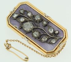 18k yellow gold brooch, decorated with blue purple enamel and rose cut diamonds set on silver