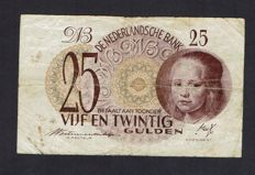 The Netherlands - 25 Guilders 1945 - Girl in blue - mevius 80-1a