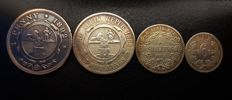 South Africa - Penny, 6 Pence, Shilling and 2 Shillings 1892 (4 pieces) - silver