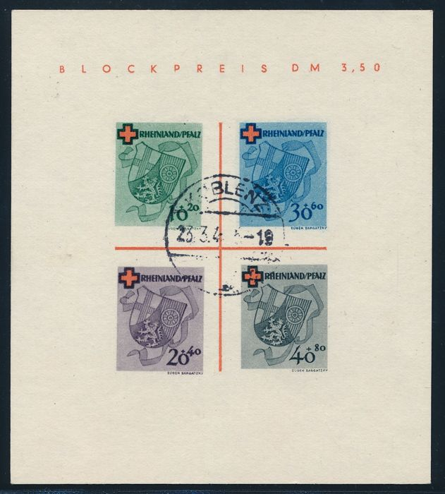 French Zone - 1949 - Rheinland Pfalz Red Cross, Michel Block 1 Type II