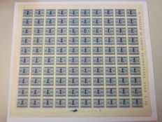 Italy, 1944 - Italian Social Republic, postage dues, 10 cents, light blue, one sheet of 100 stamps - Sassone no. 61.