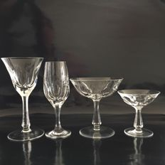 Nachtmann, vintage, mouth-blown and hand-cut 6-person glass set - mid-century design, 24% lead crystal - bar set - bar ware
