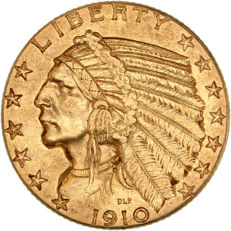 """United States - 5 dollars 1910 """"Indian head"""" - gold"""