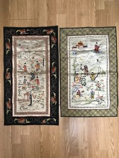 two silk embroideries - China - second half of the 20th