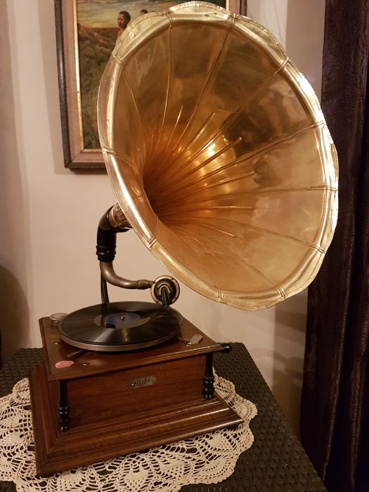 superbe ancien phonographe gramophone de salon pathe la voix de son maitre potence en fonte. Black Bedroom Furniture Sets. Home Design Ideas