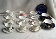 Collection of exclusive English cups and saucers, including Royal Albert